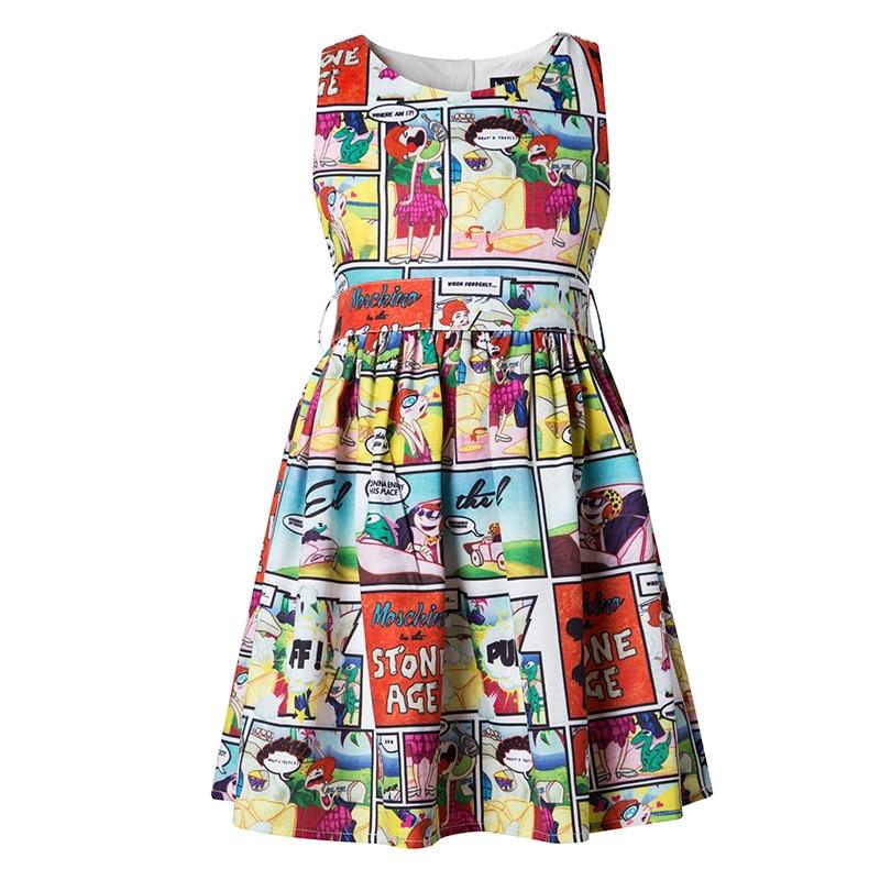 Keelorn Girls Dresses 2017 New Eupopean American Style Children Sleeveless Cartoon Pattern Printed Cute Dress Kids Summer Dress