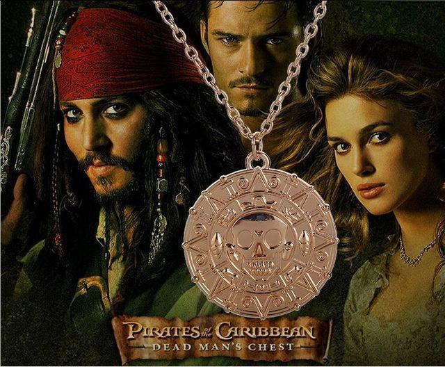 1pc Golden Vintage Alloy Movie Pirates Of The Caribbean Maya Totem