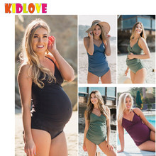 KIDLOVE Large Size Maternity Swimwear Comfortable Pregnant Women Swimsuit Pure Color Jumpsuit Beach Wear Pregnancy Clothes Gift(China)