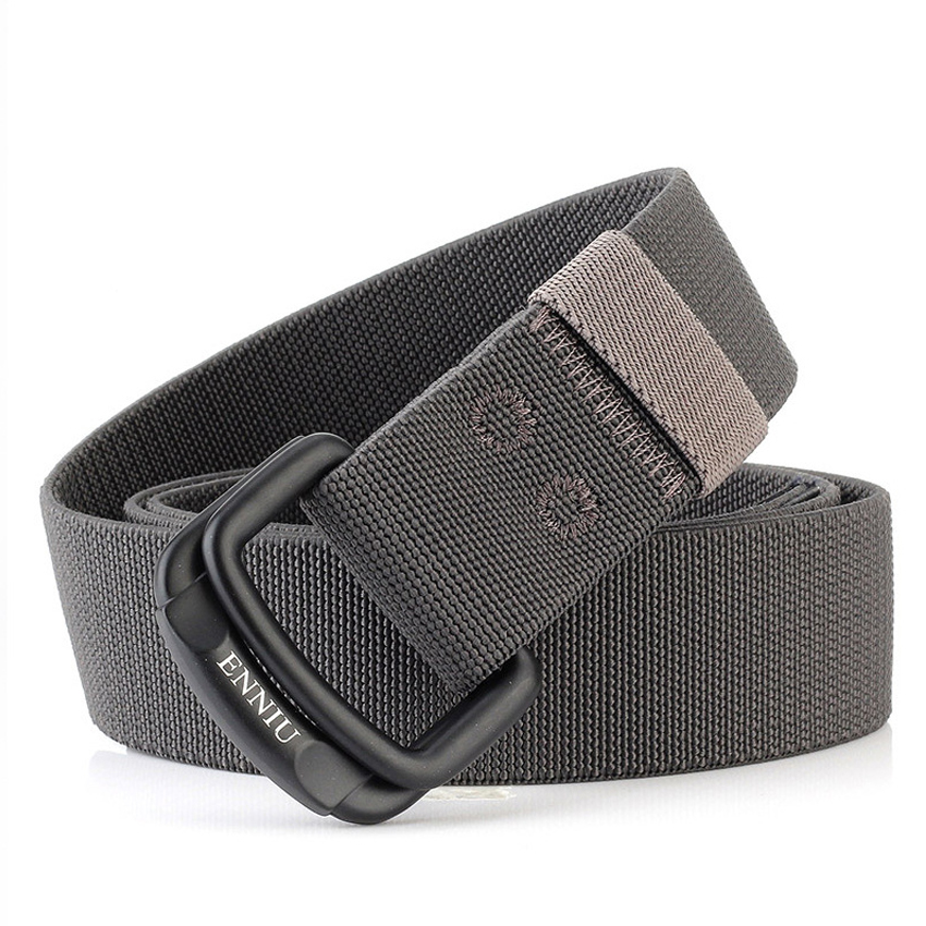 Military Equipment Belt Men Elastic Nylon Tactical Belts For Jeans Pants Solid Strap Canvas Double Ring Metal Buckle Waist Belt