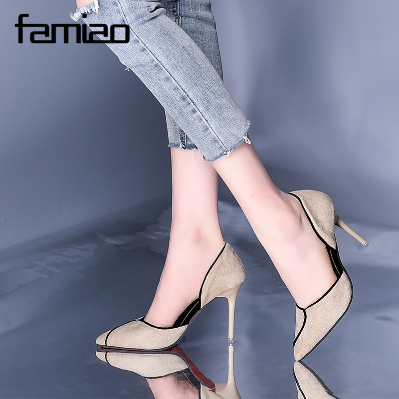 FAMIAO brand elegant pumps chaussure femme talon 2018 balck/beige Classics Women's Shallow Office Shoes zapatos mujer цена 2017