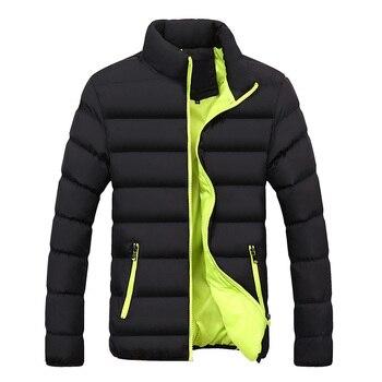 가을 겨울 자켓 남성 브랜드 의류 캐주얼 코트 새로운 단색 간단한 남성 outwear parkas 스탠드 칼라 고품질 M-4XL
