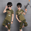 Children's summer wear camouflage suit The big boy short sleeve leisure sets Boy toy gun design clothing teenage costume 3 -14 Y