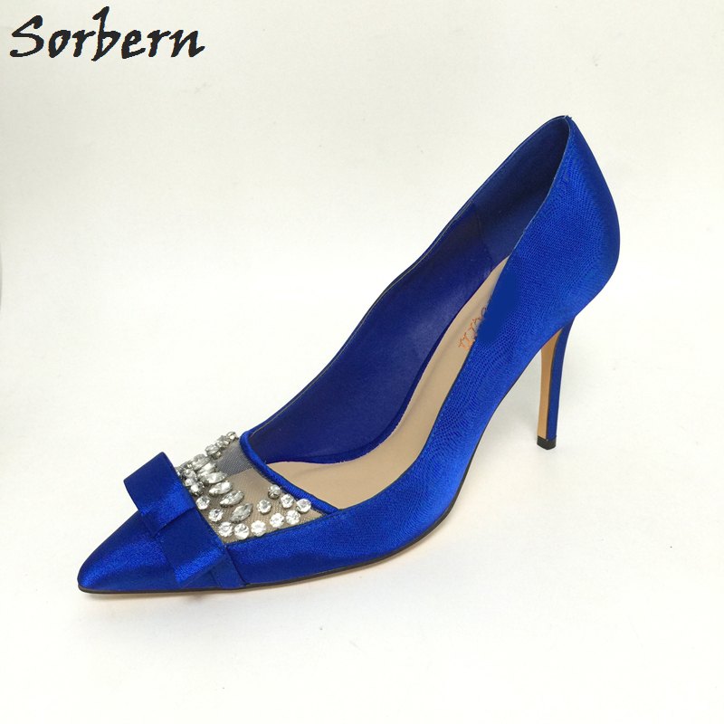 Sorbern Royal Blue Crystals Woman Pointed Toe Slip-on Super Sexy Shoes High  Heels Tacones 0c35819e8d33