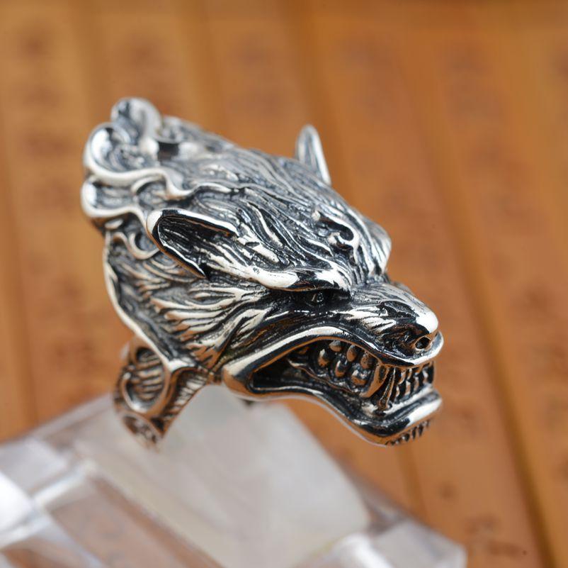 S925 vente en gros bague en argent sterling antique loup en argent style rétro unique cadeau de style masculin - 3