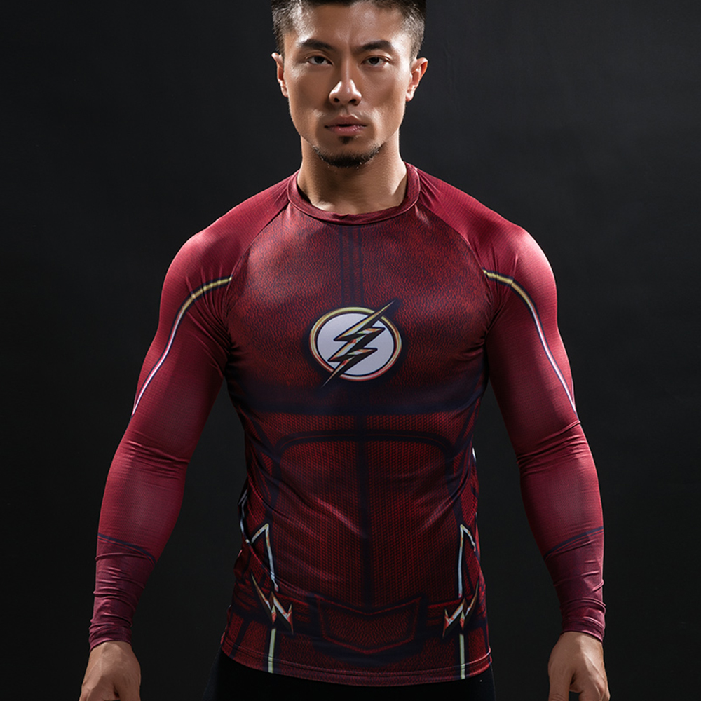 5b096e9e31 Camisa de compressão de Flash 3D Impressos Camisetas Homens Raglan Manga  Longa Superman Flash Cosplay Traje