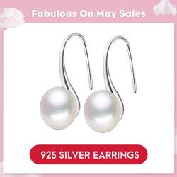 LicLiz Reine 925 Sterling Silber Ohrringe Tropfen Frauen Runde Natürliche Süßwasser Perle Haken Baumeln Ohrring Ohr Tropfen Brincos LAE0009