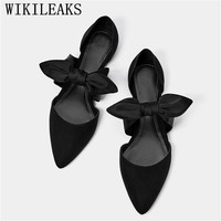 Flat Shoes Women Butterfly knot Slip On Ladies Loafers Pointed Toe Casual Flats Moccasins Comfortable Soft Female Leisure Shoes