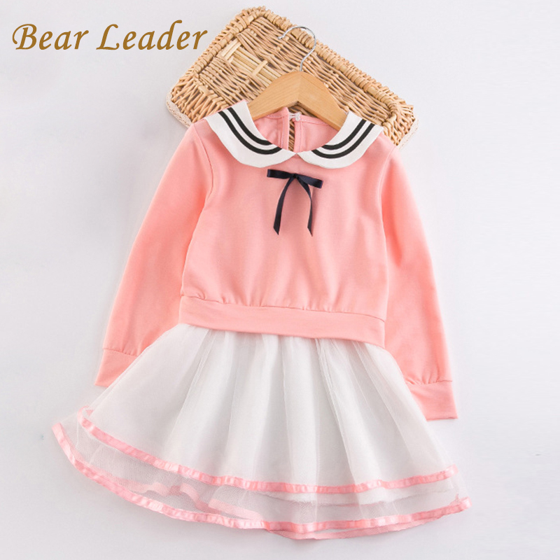 Bear Leader Girls Dress 2017 New Autumn Girls Clothes Long Sleeve Bow Design Voile Dress Children Clothing Casual Style Dresses new language leader elementary coursebook with myenglishlab