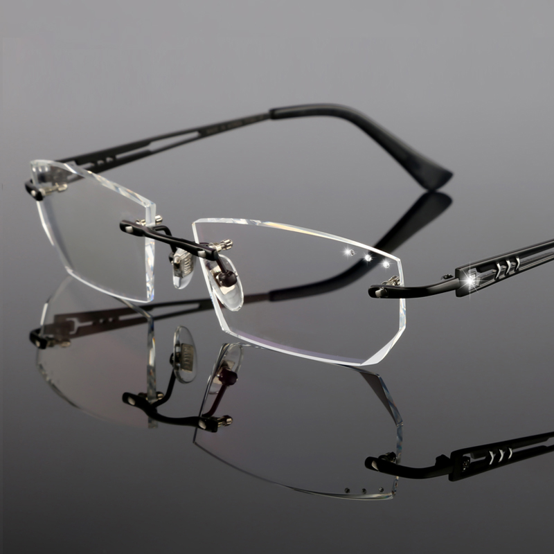 Brille Yj12 Brillen Business Optische Mode Myopie Männer Randlose Hyperopie Gläser Komplette Herren 5Bw1XF