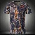 Novos Homens De Luxo de Manga Curta T-shirt Verão Fina T-shirt Harajuku 3D Camisa impressa T Homens Casuais V Pescoço Algodão Homme Roupas de Marca