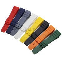 20mm Black White Orange Red Yellow Blue Green Grey Nature Soft Silicone Rubber Watch Band Strap for Richard Watch Without Buckle