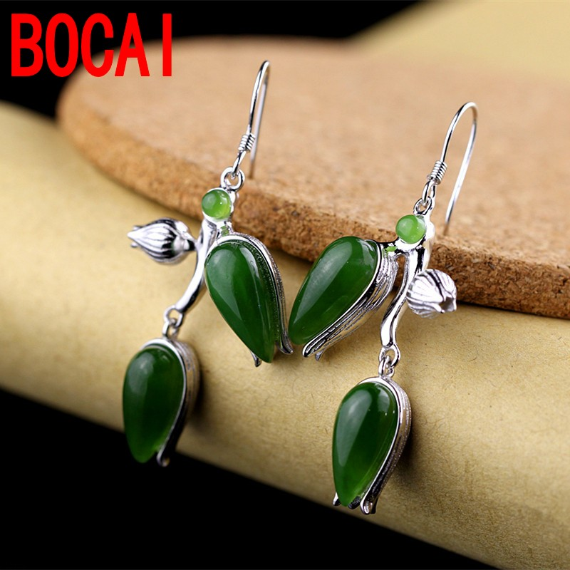 S925 silver jewelry fashion boutique Hetian  earrings S925 silver jewelry fashion boutique Hetian  earrings
