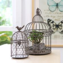 European retro bird cage wrought iron candlestick decoration home living room soft hand-woven gift