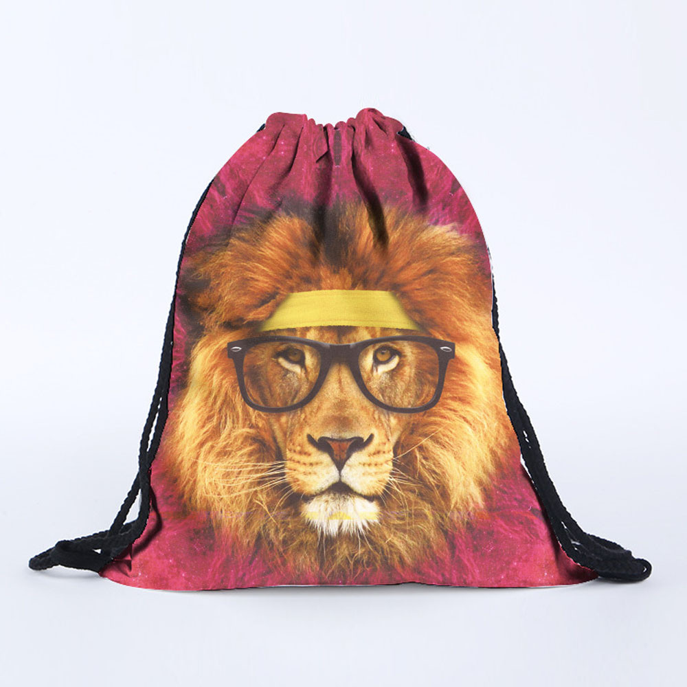 Sleeper #501 2018 NEW Unisex Lion 3D Printing Bags Drawstring Pouch Pocket Rucksack For Boy Teeneger Cool Hot Sale Free Shipping