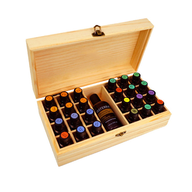 Wooden Essential Oil Bottle Storage Box High-end Essential Oil Bottles Container Metal Lock Jewelry Treasure Case 27.5*15*8cm