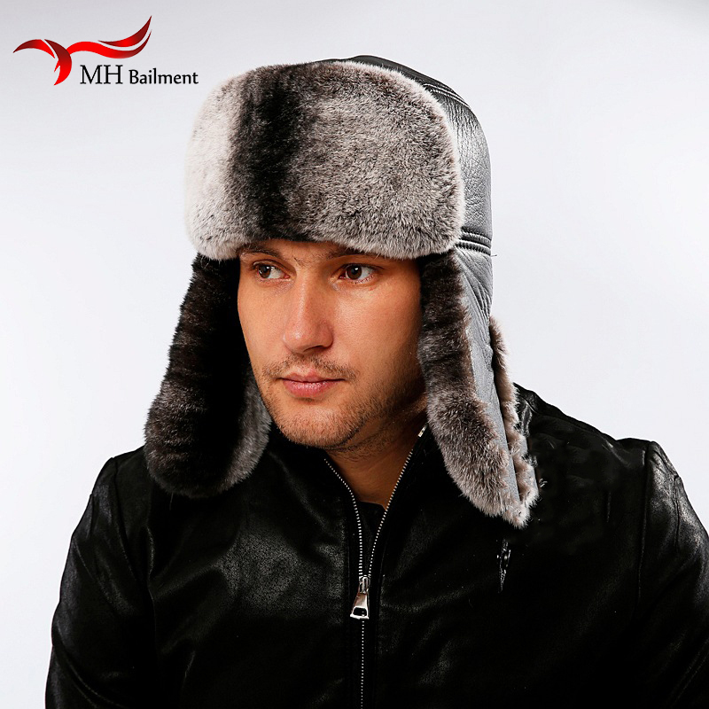 27bf3e7c81a Detail Feedback Questions about Winter Men s Fur Hats Made of Real Fur  Sheep Skin Ushanka Snow Rabbit Black Leather Hat adjustable 56 59cm on  Aliexpress.com ...