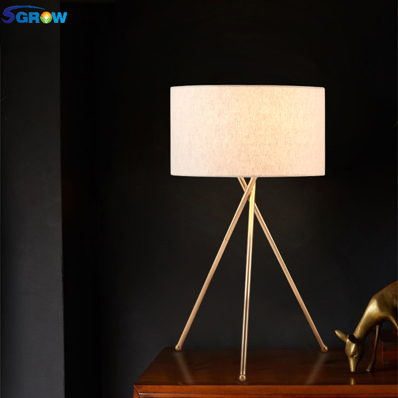 SGROW Nordic Fabric Lampshade Table Lamp Light Fixtures Gold Metal Support Desk Lights With E27 Bulb Indoor Lighting for Bedroom plywood