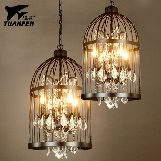 Attirant Birdcage Crystal Pendant Lights Lron Art Living Room Birdcage Lighting Iron  Loft Pendant Lamp With E14
