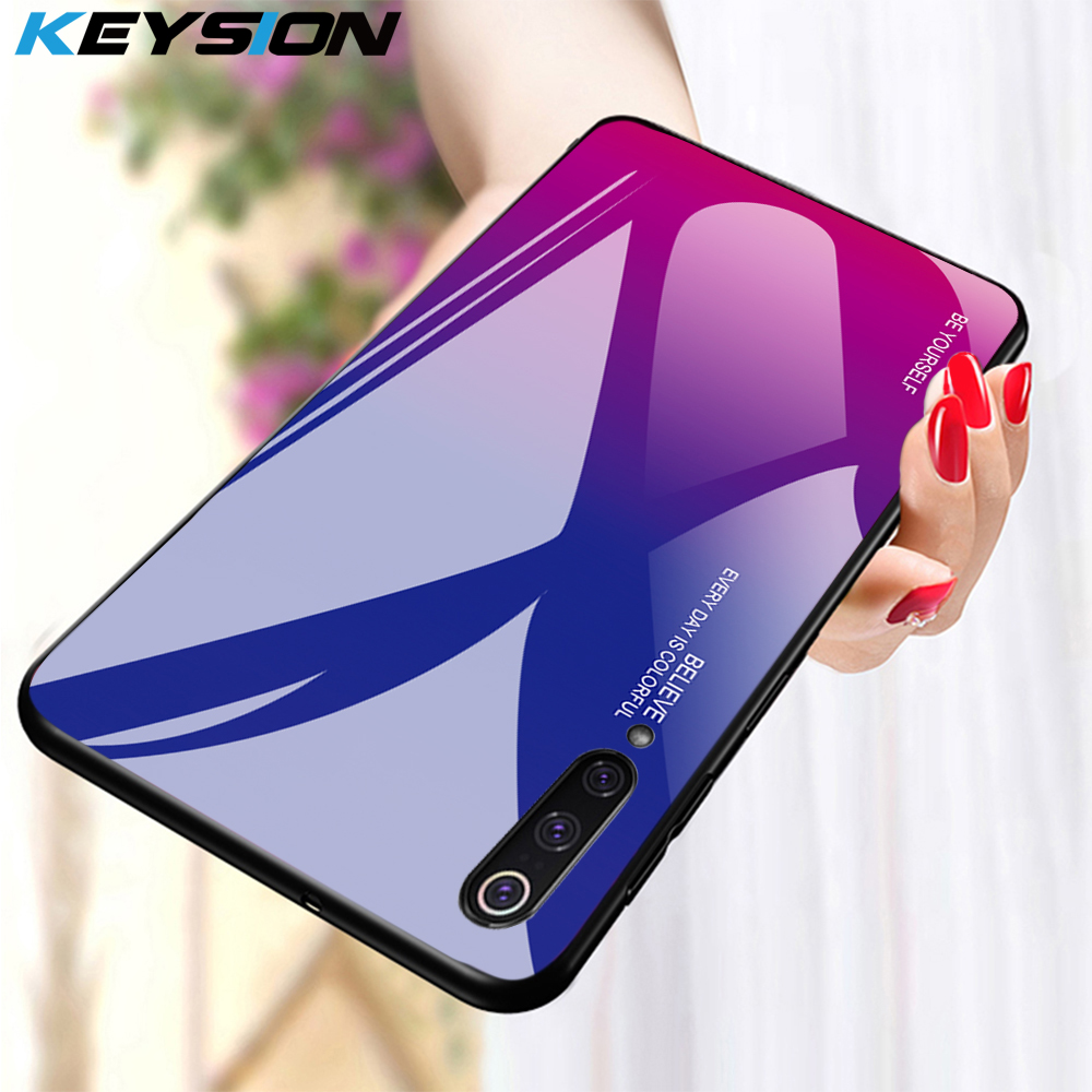 KEYSION Phone-Case Gradient Xiaomi Mi-9 Se Tempered-Glass A1 8-Lite For A2 7-Pro 6