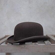 100% צמר Bowler כובע נשים גברים 100% מעיכים מסורתית Billycock חתן כובעי 4 גודל S M L XL