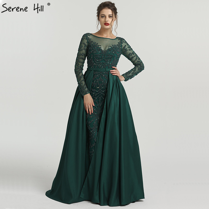 Luxury Pink Evening Dresses Emeradald Green Long Sleeves Beading Crystal Evening Gown 2019 BLA6172