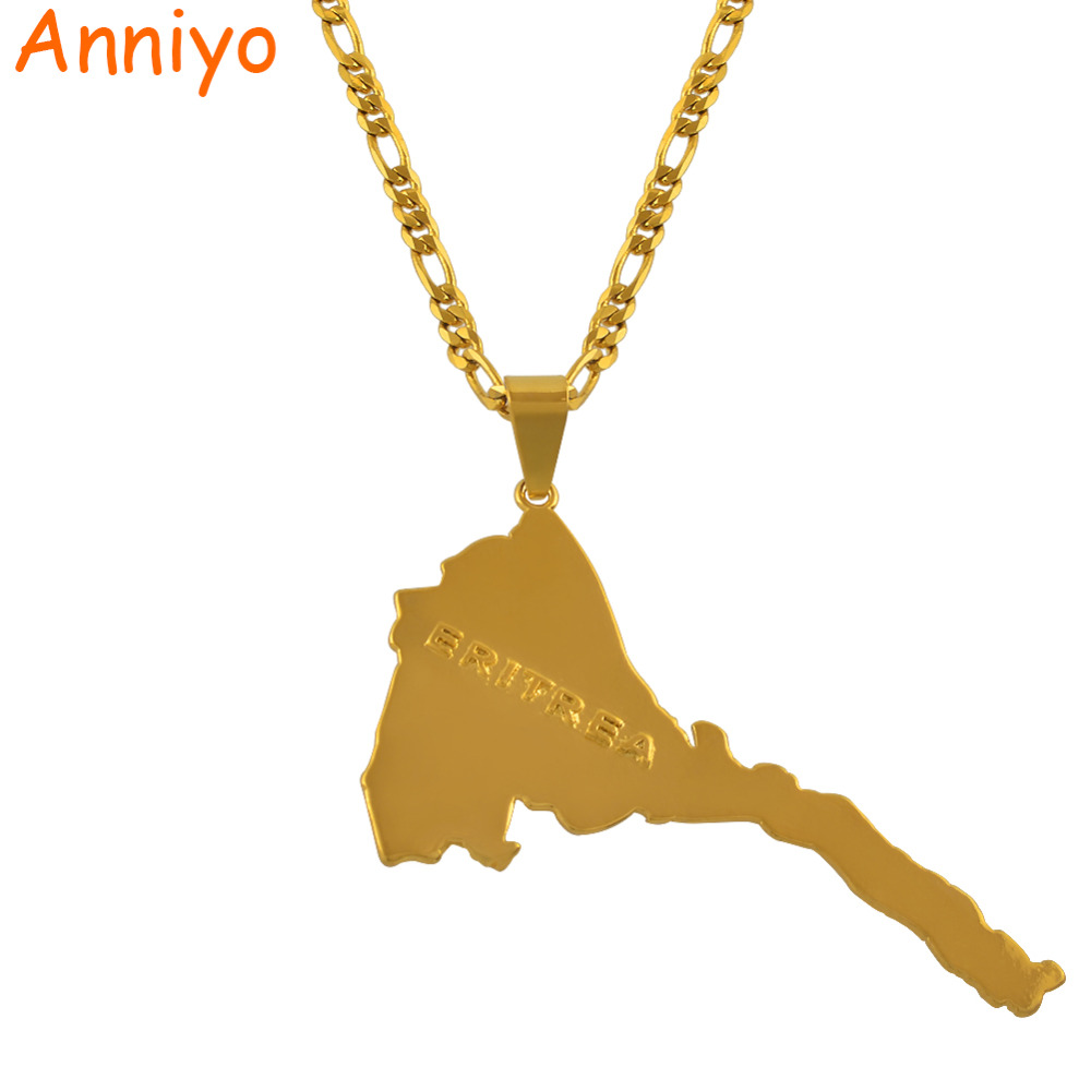 Anniyo Eritrea Map Pendants & Necklaces Chain Women Men/Map of Eritrea Gold Color Jewelry Africa Necklace Ethiopia #004101 working equids of ethiopia
