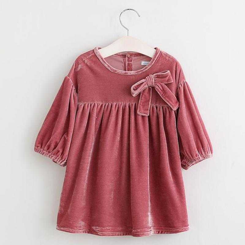 Danmoke Autumn Vintage Style Baby Girl Velvet Dress Bowknot Lantern Sleeve Winter Kids Dresses For Girls 2 Color