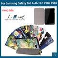 """Alta qualidade da tampa do caso para samsung galaxy tab a a6 10.1 p580 p585 10.1 """"smart cove + livre 3 presentes"""