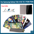 """High quality case cover For Samsung GALAXY Tab A A6 10.1 P580 P585 10.1"""" Smart Cove+free 3 gifts"""