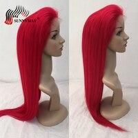 Sunnymay красный полное кружева человеческих волос парики для черный Для женщин бразильский Virign волос парики шнурка с ребенком волос предварит