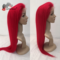 Sunnymay Red Full Lace Human Hair Wigs For Black Women Brazilian Virign Hair Lace Wigs With Baby Hair Pre Plucked