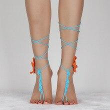 2017 New Cotton Crochet Circle,Bridal Barefoot Sandals Wedding Yoga anklets summer style Orange starfish anklets Women