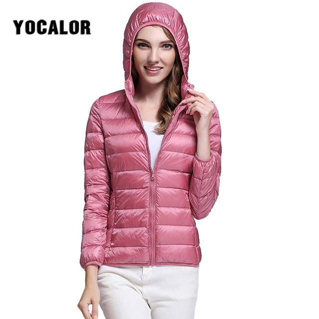 23baa20f43774 90% Ultralight White Duck Down Puffer Jacket Women Autumn Winter Warm Coat  Lady Large Size Jackets Female Hooded Parka Thin 2018