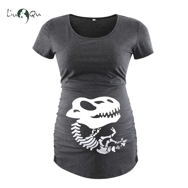 546f88eadda3d Halloween Maternity Clothes Pregnant Women Side Ruched Print T-shirt Short  Sleeve Top Tee Womens