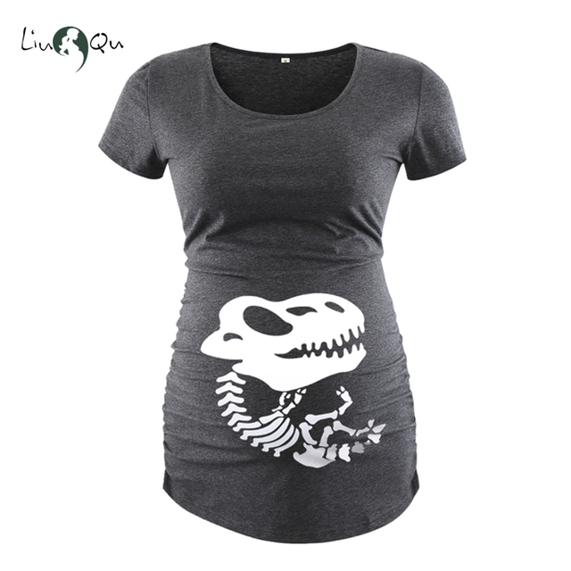 eb580e067db26 Halloween Maternity Clothes Pregnant Women Side Ruched Print T-shirt Short  Sleeve Top Tee Womens Clothing Pregnancy Clothes Tee