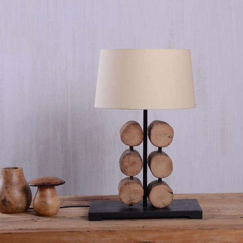 Creative Southeast Asia Pastoral Original Wooden Fabric Led E27 Table Lamp For Living Room Restaurant Bar Tea House Decor 1800