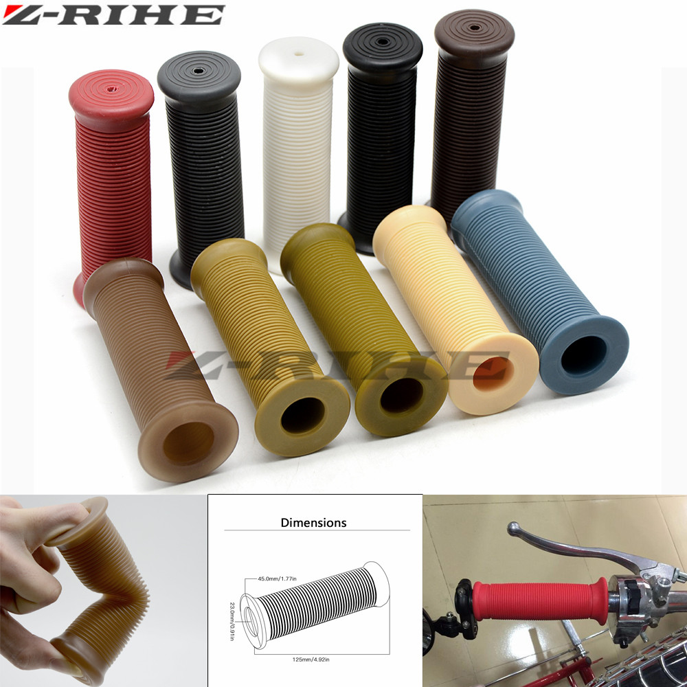 Motorcycle Hand Grips Handle Rubber Bar Gel Grip Retro Rubber Motorcycle Grips Screw Thread FOR 7/8