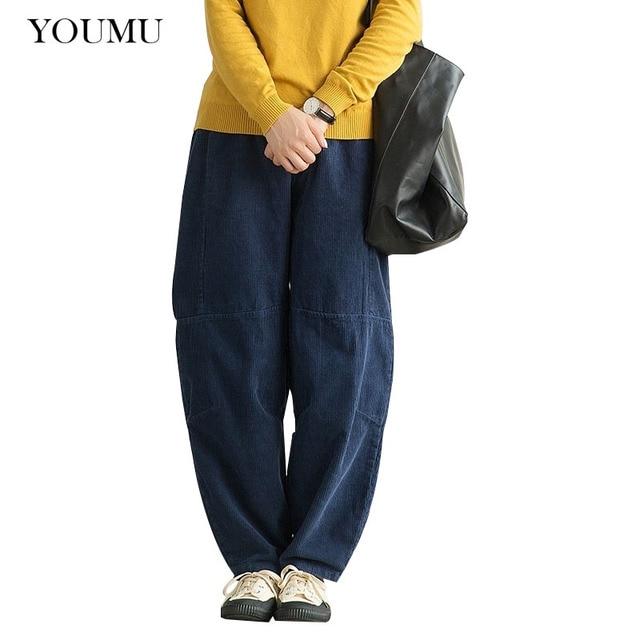 1c870a259b5 Women Corduroy Black Harem Pants Harajuku Mid Waist Loose Elastic Waist  Pockets Pleated Long Trousers Streetwear 225-334