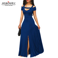 SEBOWEL 2018 Autumn Womens Dresses Navy Blue Cold Shoulder Front Slit Flare Maxi Long Dress Female Summer Evening Party Dress