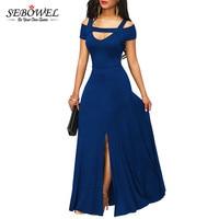 SEBOWEL 2019 Autumn Womens Dresses Navy Blue Cold Shoulder Front Slit Flare Maxi Long Dress Female Summer Evening Party Dress