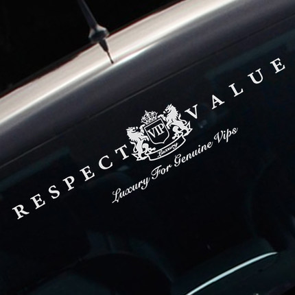Noizzy Respeito Valor Genuíno Luxo VIP Etiqueta Do Carro Auto Frente Windshield Decalque do Vinil Reflexivo Automóvel Tuning Car Styling