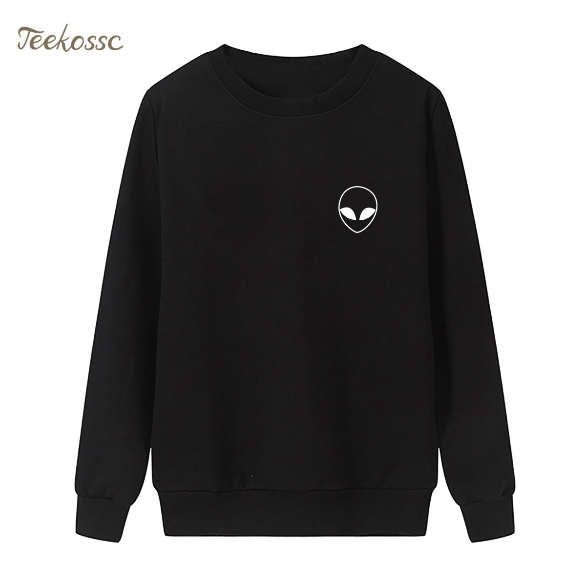 Alien Pocket Sweatshirt White Black Hoodie 2018 New Winter Autumn Women Lasdies Pullover Loose Fleece Hipster Casual Sportswear