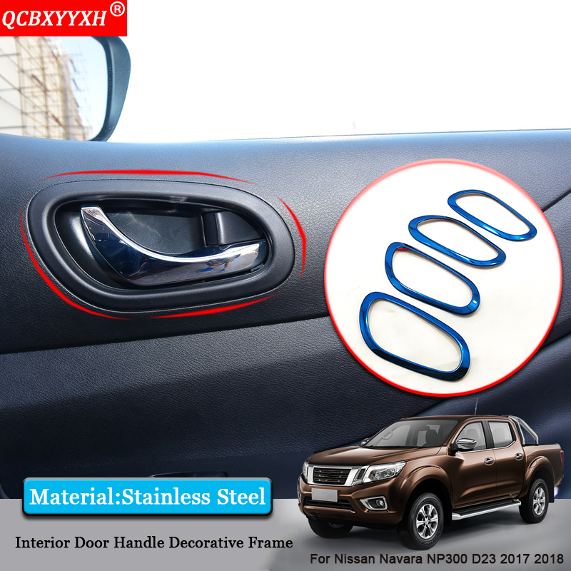 QCBXYYXH Car styling Car Inside Door Handle Frame Inside Door Sequins Covers Accessories For Nissan Navara