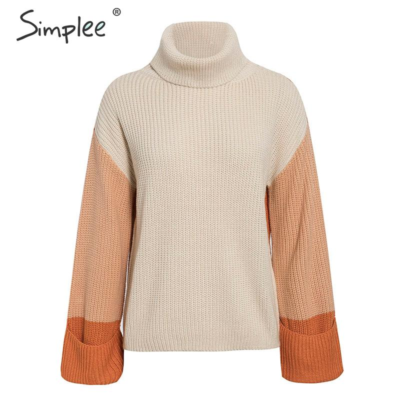 Simplee Patchwork turtleneck knitted sweaters female Casual long sleeve korean pullover jumper Women streetwear ladies sweater 13