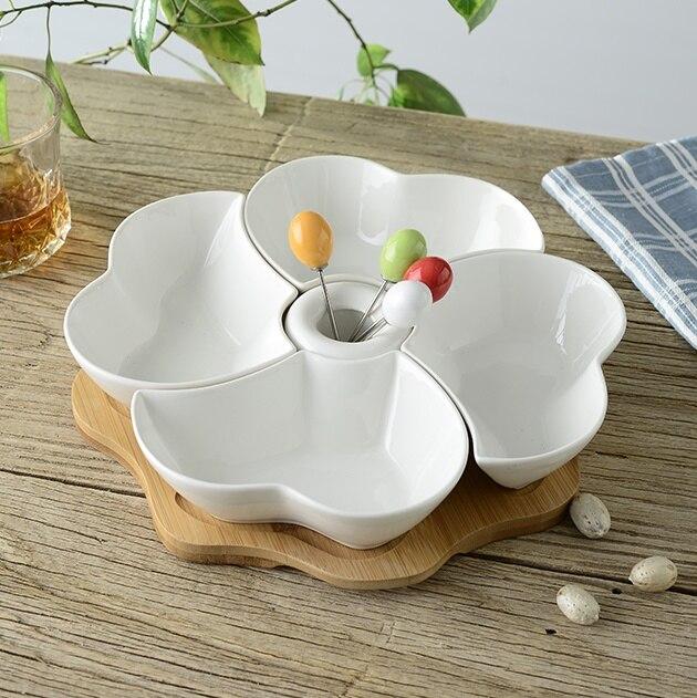 Separable Ceramic Plum Flower Dinner Plate With Forks