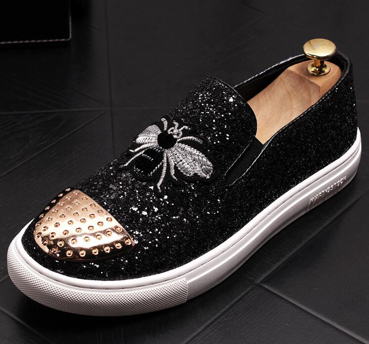 Fashion Men bees Embroidery sheet metal Trendy Casual thick bottom platform Shoes Male wedding Dress Prom moccasins loafer 4