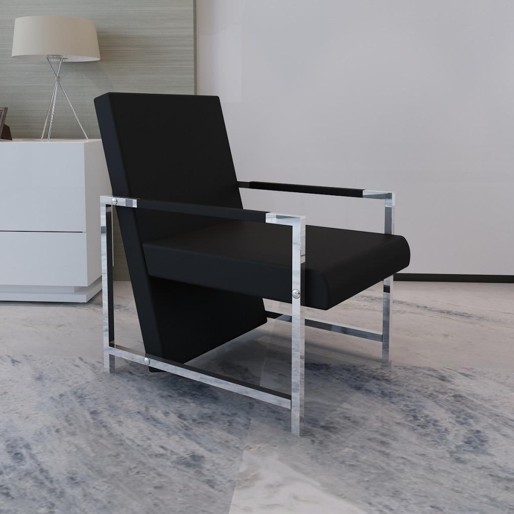 ikayaa cbico negro patas cromadas silla silln con alta calidad para la sala de estar es de valores