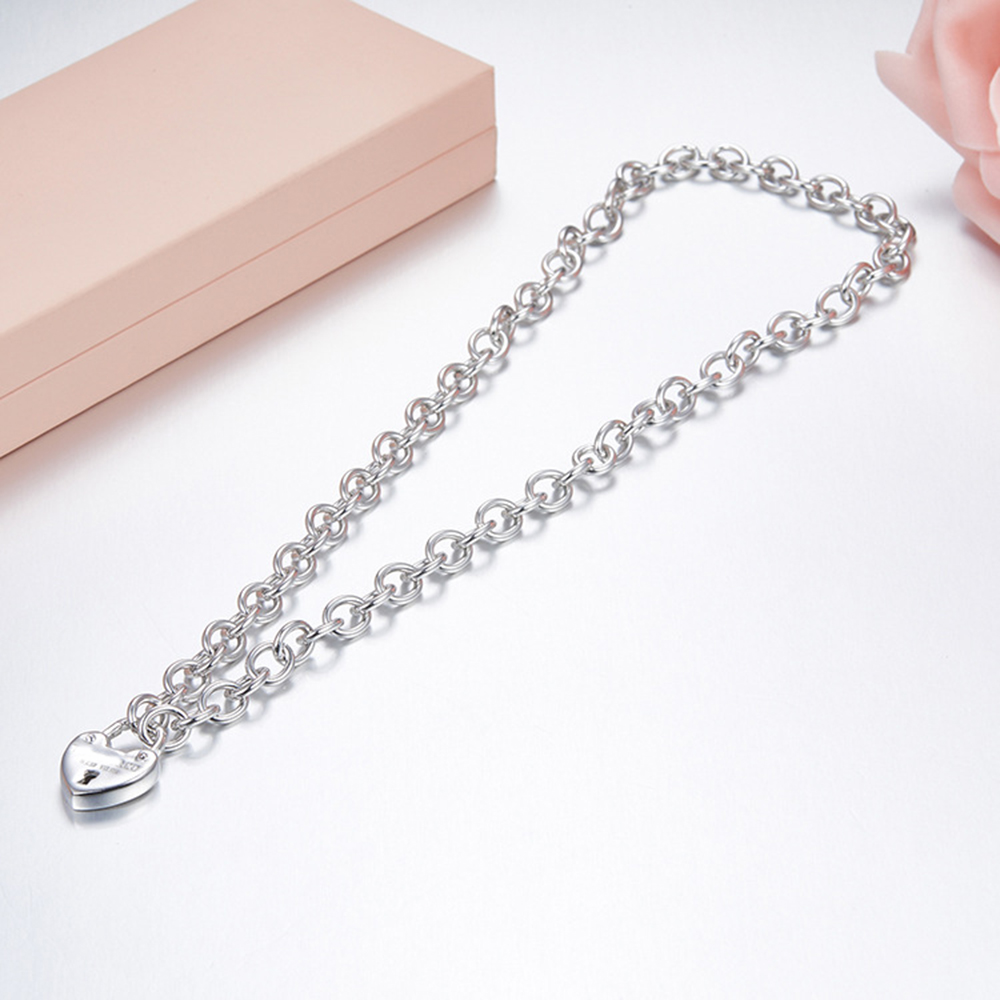 100% 925 Sterling Silver Heart-shaped logo lock Pendant Necklace DIY Women's Tag Clavicle Chain return to NY for women jewelry qiuboss 925 sterling silver silver heart shaped enamel pendant necklace charm women clavicle diy gift jewelry