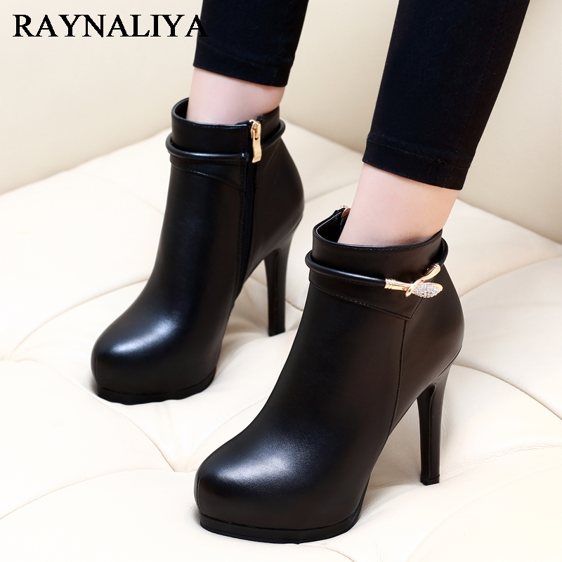 Winter New Women Boots Platform High Heels Ankle Boots Woman Fashion Pumps Ladies Sexy Genuine Leather Shoes Size 34-39 CH-A0014